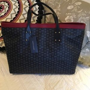 NWT Tommy Hilfiger Tote Blue w Logo Double Straps
